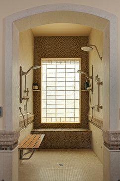 Walk In Or Wheelchair Accessible Shower   Mediterranean   Bathroom   Los  Angeles   Rhonda Chen Interior Design Details