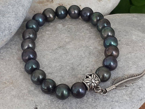 Hey I Found This Really Awesome Etsy Listing At Https Www Etsy Com Listing 266266167 Mens Black Pearl Jewel Black Pearl Jewelry Black Pearl Bracelet Jewelry