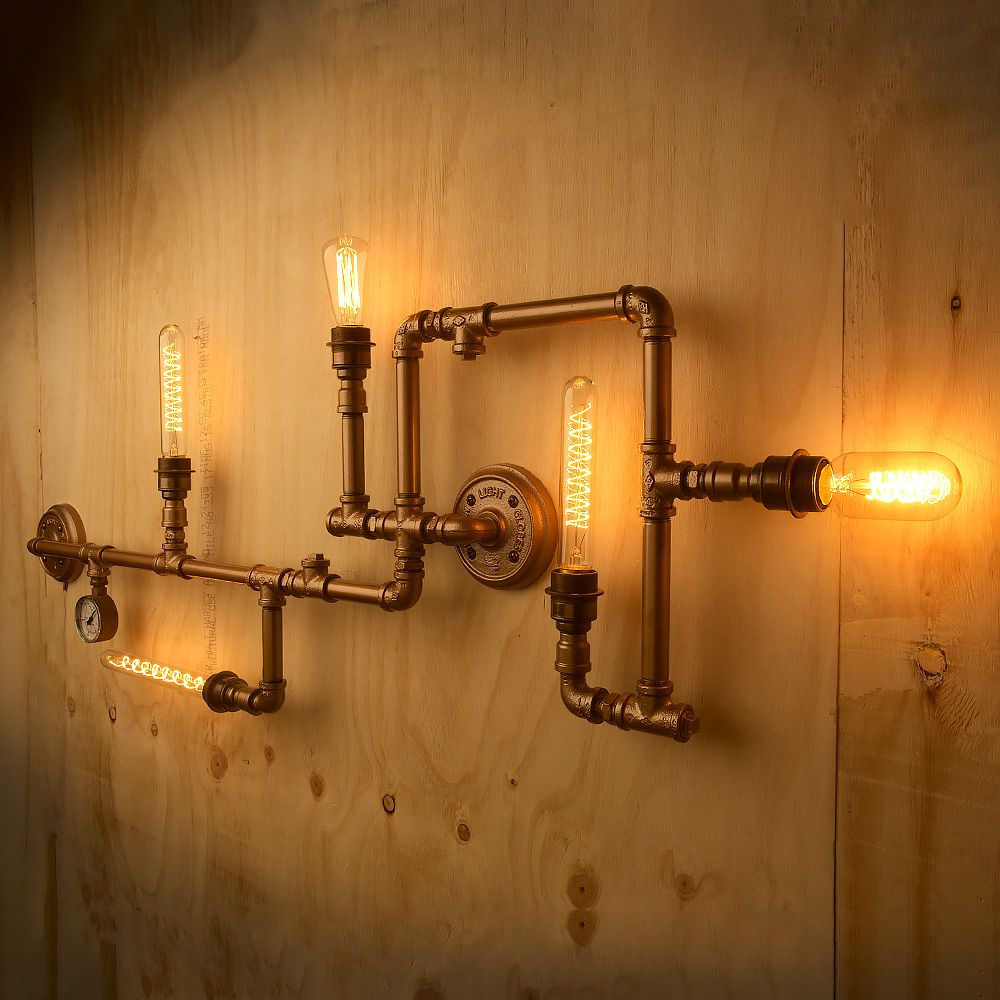 Industrial Pipe Wall Light: Plumbing Pipe 5 Bulb Wall Feature Consists Of Lengths Of