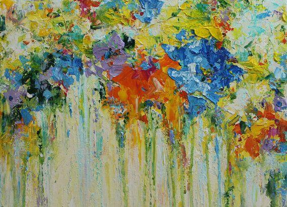 Flores en acrílico Resumen pintura Original acrílico pintura