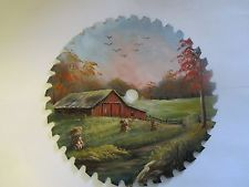 8' hand painted saw blade corn shocks and red barn