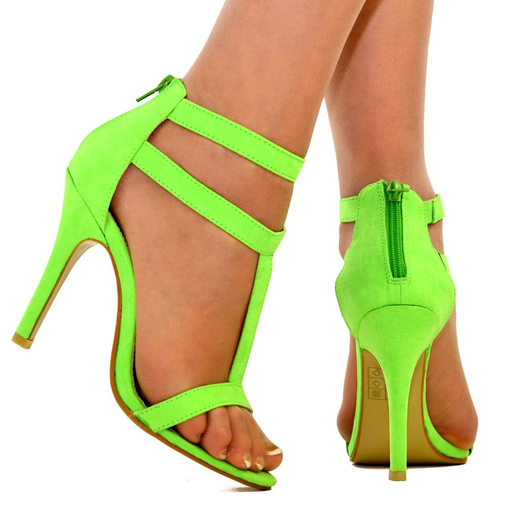 c2a19f757ff Womens Neon Green Ankle Cuff Strappy Stiletto High Heel Sandal Open Toe  Shoe NEW  FantasyShoes  StrappyAnkleStraps