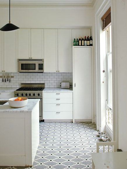 Updating White Kitchens All White Kitchen With Patterned Mosaic
