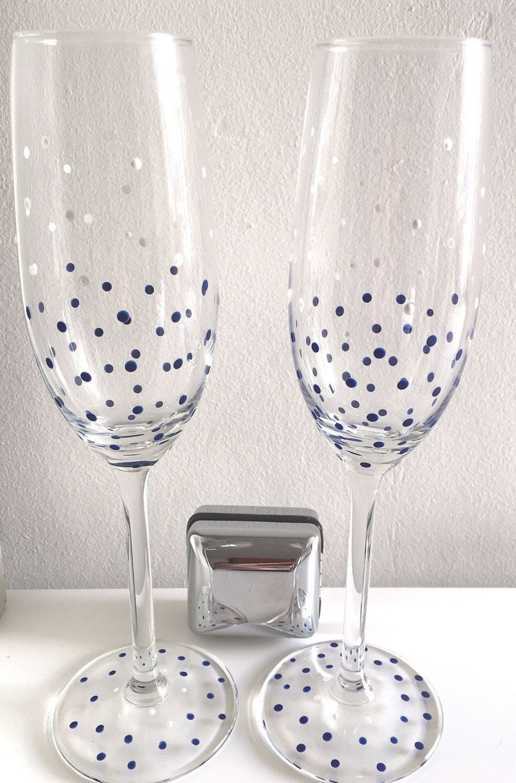Champagne flutes, wedding glasses, navy and white polka dots ...