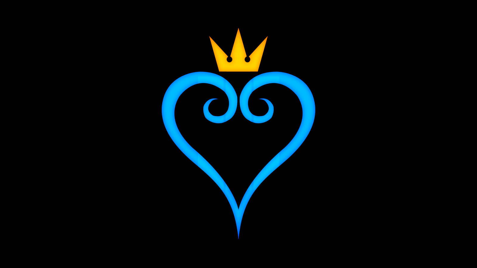 1600x900 Kingdom Hearts Heart Black Logo Crown Disney Hd
