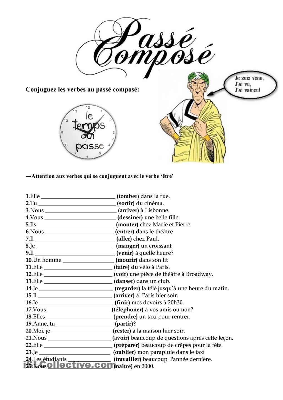 Le Passe Compose Passe Compose Mots Francais Exercice Verbe