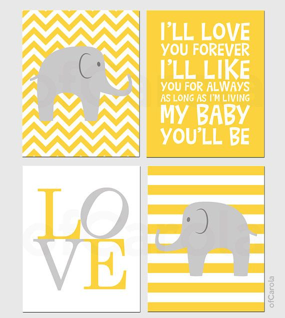 Wall Art Elephant Print Set Four Prints Yellow Gray White Chevron ...