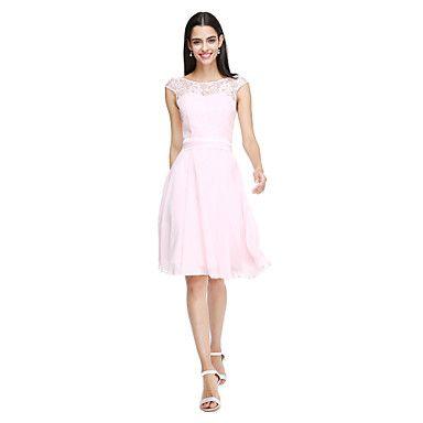 LAN+TING+BRIDE+Knee-length+Jewel+Bridesmaid+Dress+-+Open+Back+Elegant+Sleeveless+Chiffon+Lace+–+USD+$+79.99