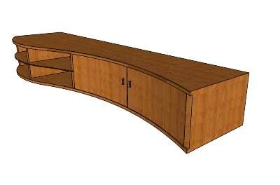 Wonderful Modern Curved Tv Cabinet (Medium Bamboo Wood)