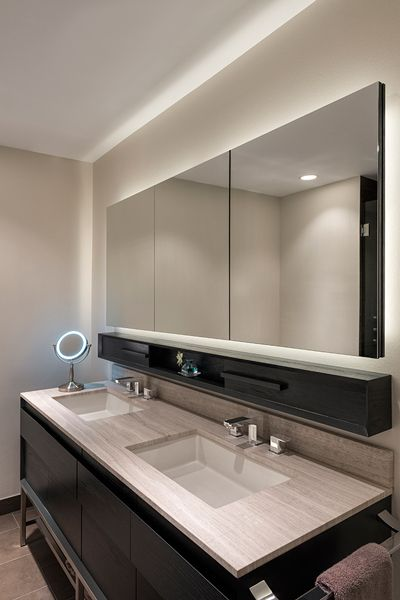 Soft Strip Completes The Look Of This Bathroom Lighting Inspiration For Bathroom And Van Modern Bathroom Mirrors Ceiling Design Modern Bathroom Mirror Lights