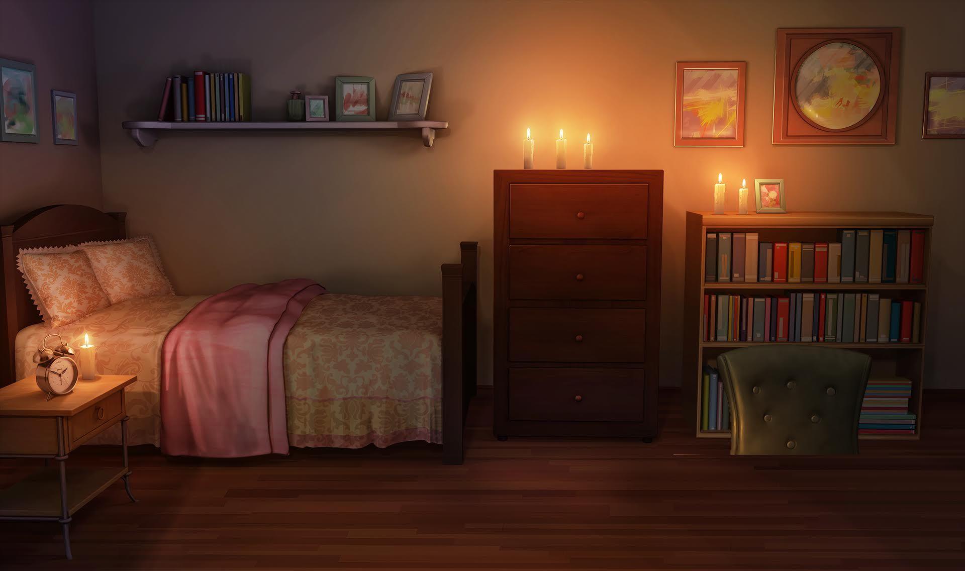 Romantic Anime Bedroom Anime Living Room Background Night