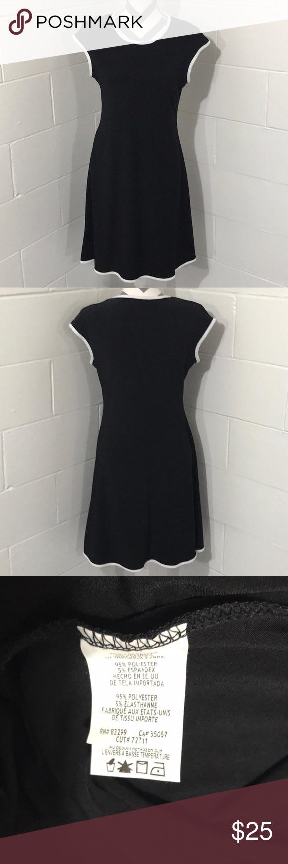 Annalee Hope Black Dress W White Trim Size M Black Dress Clothes Design Dresses [ 1740 x 580 Pixel ]