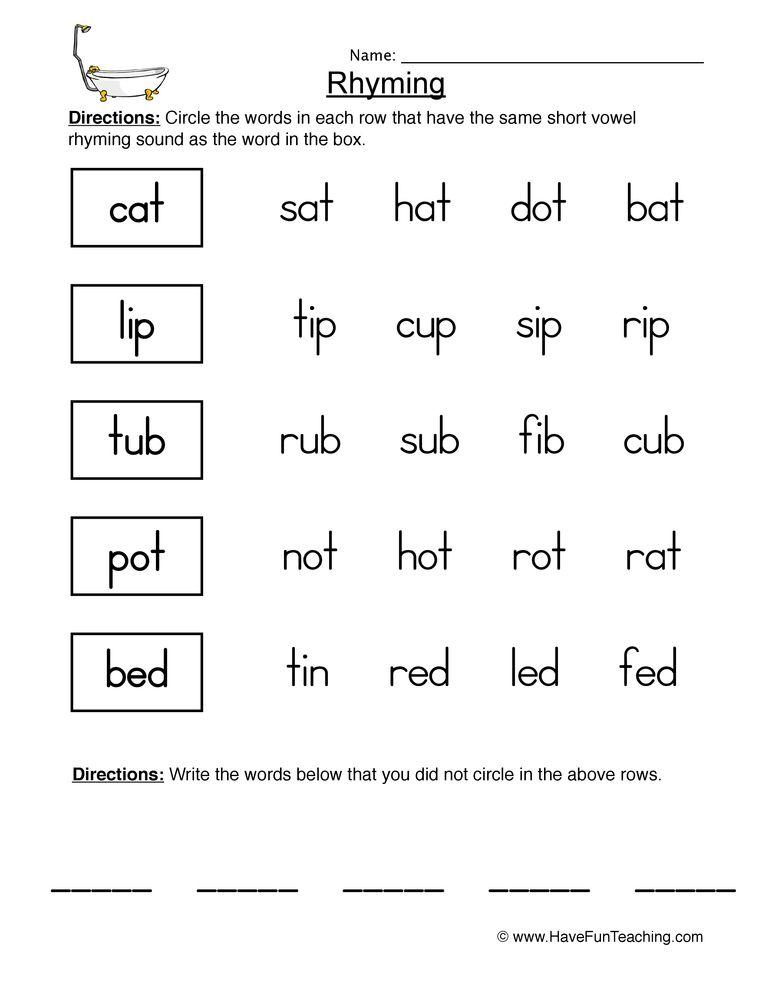 Rhyming Worksheet 1   Rhyming worksheet, 1st grade ...