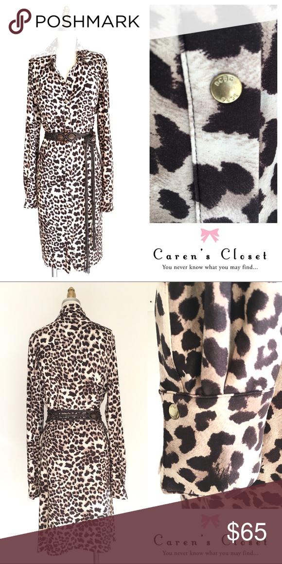 1095c0a969 BCBGMaxAzria Leopard Print Stretch Shirt Dress BCBGMaxAzria Brown Leopard  Stretch Jersey Shirt Dress. Brass signature