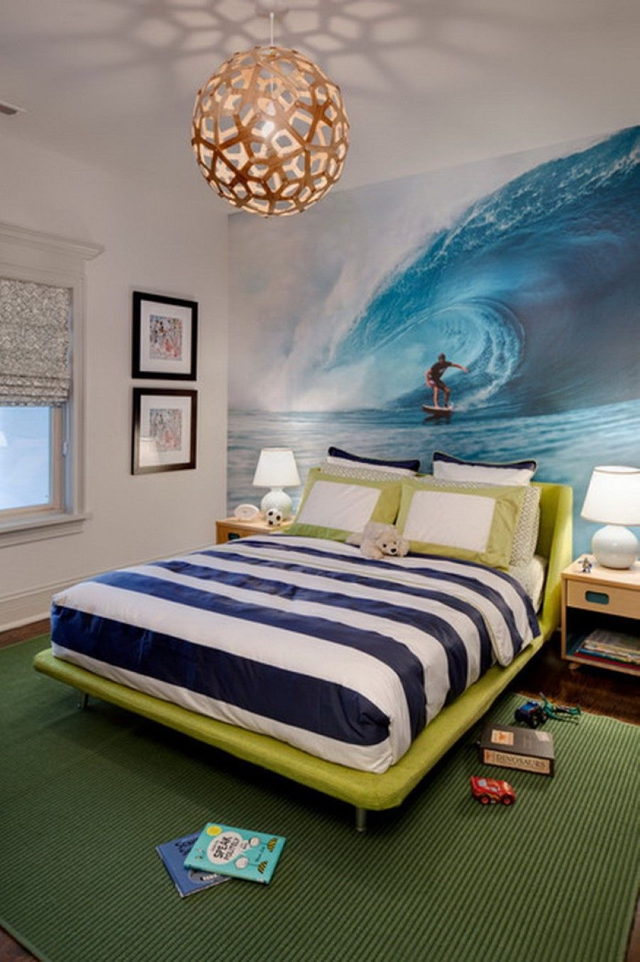 bedroom stylish bed frame back to ocean wall painting and flanked