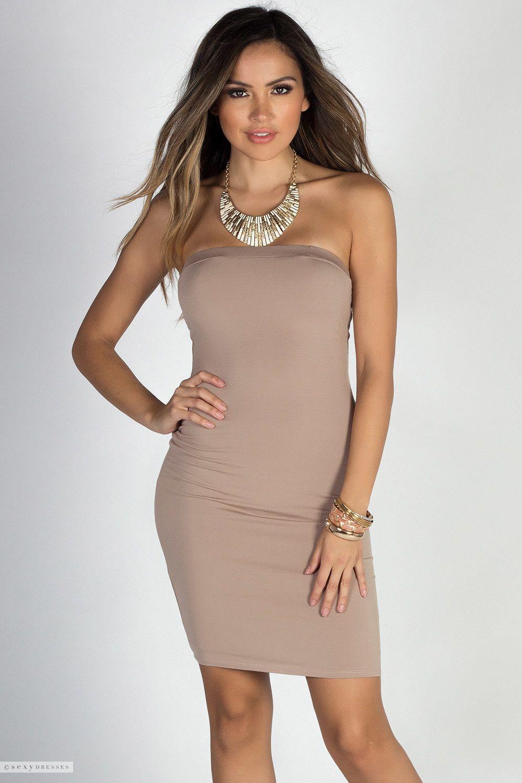 Pyt Mocha Strapless Jersey Mini Dress Clubwear Dresses Tight