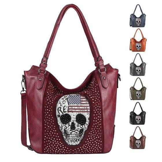 Photo of OBC ladies skull bag USA look shopper shoulder bag skull handbag shoulder bag crossbody rhinestones leather look