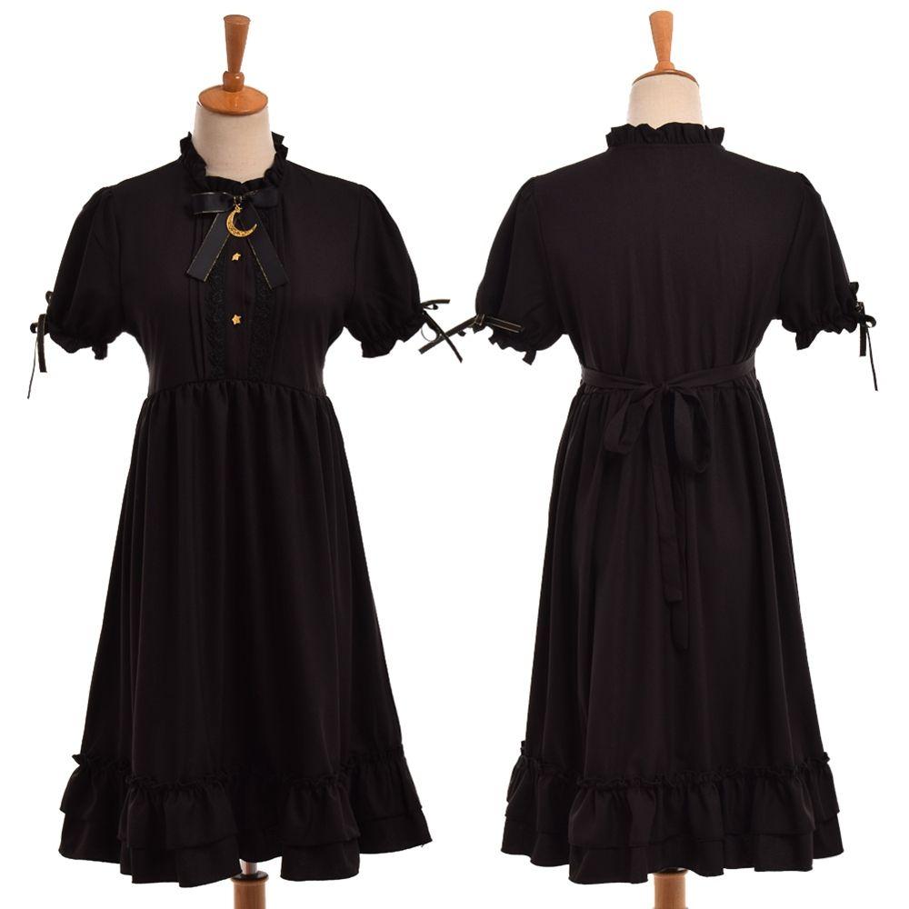 1pc Girls Gothic Lolita Black Dress Cute Moon Bow Long Sleeve High Waist Ruffled Hem Costume