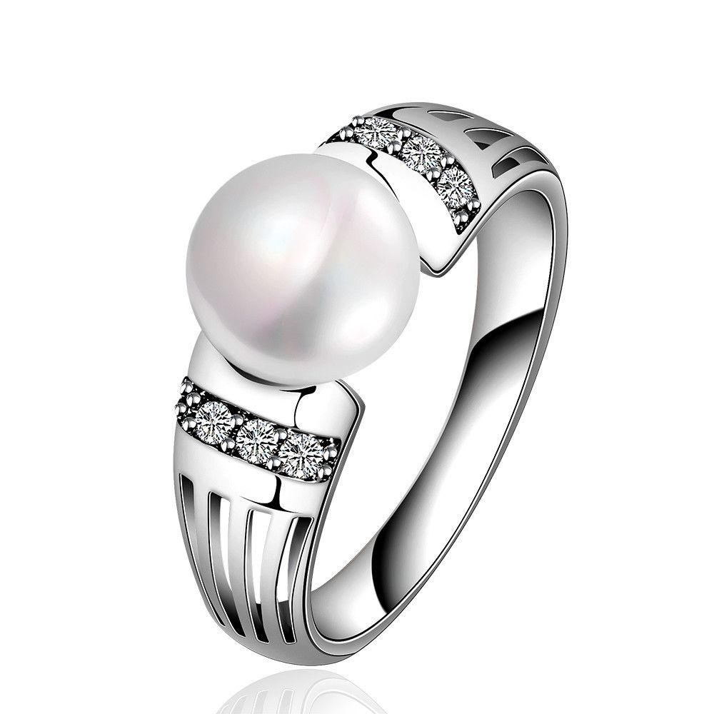 New Fashion Ball Elegant Lady Genuine Shell Pearl White Gold Women ...