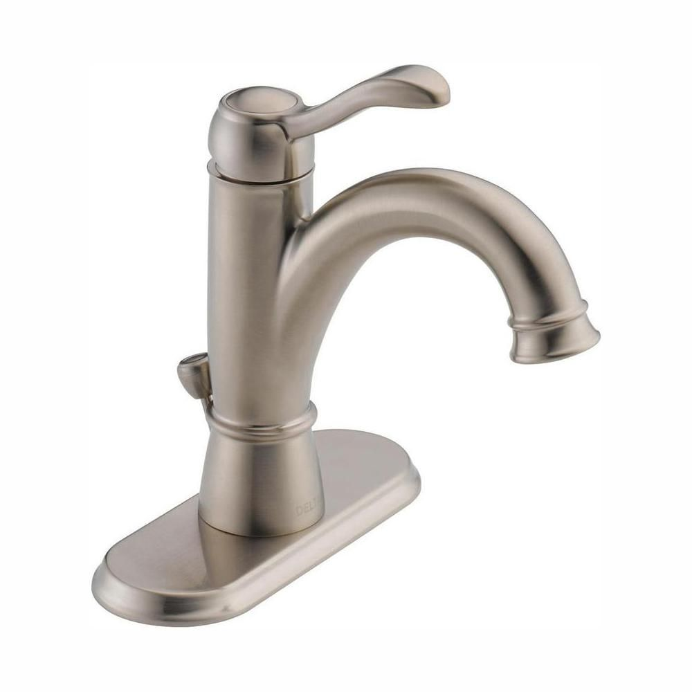 Delta Porter Single Hole Single Handle Bathroom Faucet In Brushed Nickel 15984lf Bn Eco The Home Depot In 2021 Single Handle Bathroom Faucet Faucet Bathroom Faucets [ 1000 x 1000 Pixel ]