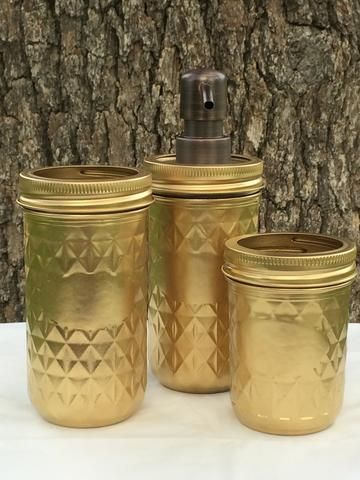 Copperas Creek Designs ~ Products ~ 3-Piece Gold Mason Jar Bath Set ~ Shopify