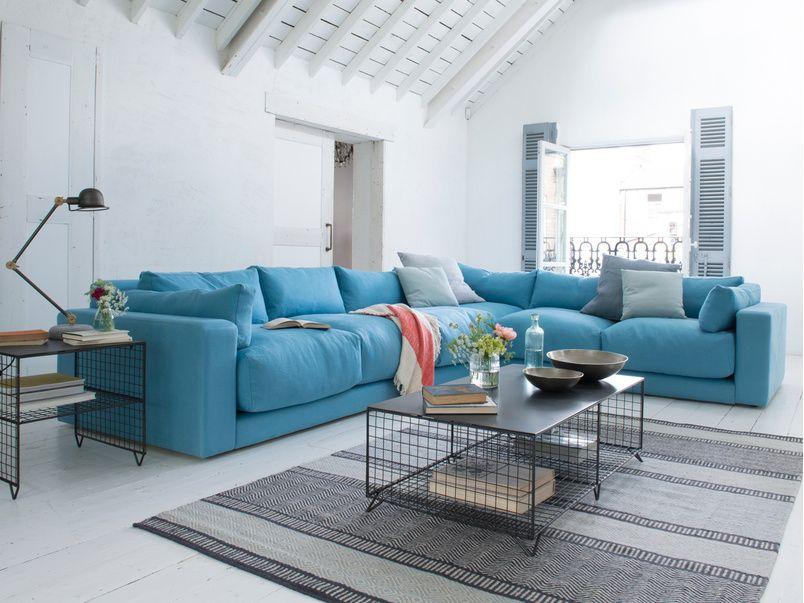 Atticus Corner Sofa In Our Aegean Blue Classic Linen Corner Sofa Design Living Room Sofa Comfy Corner Sofa