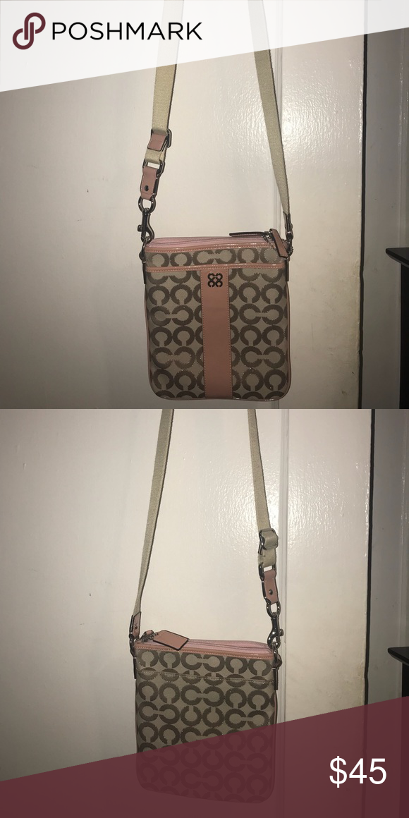 45902f2d6cc2 Small Coach crossbody bag Tan fabric crossbody with pink leather accents.  BARELY USED Coach Bags Crossbody Bags