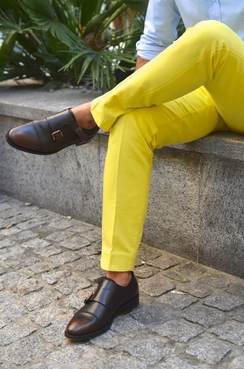 Men's Light Blue Long Sleeve Shirt, Yellow Dress Pants, Dark Brown ...