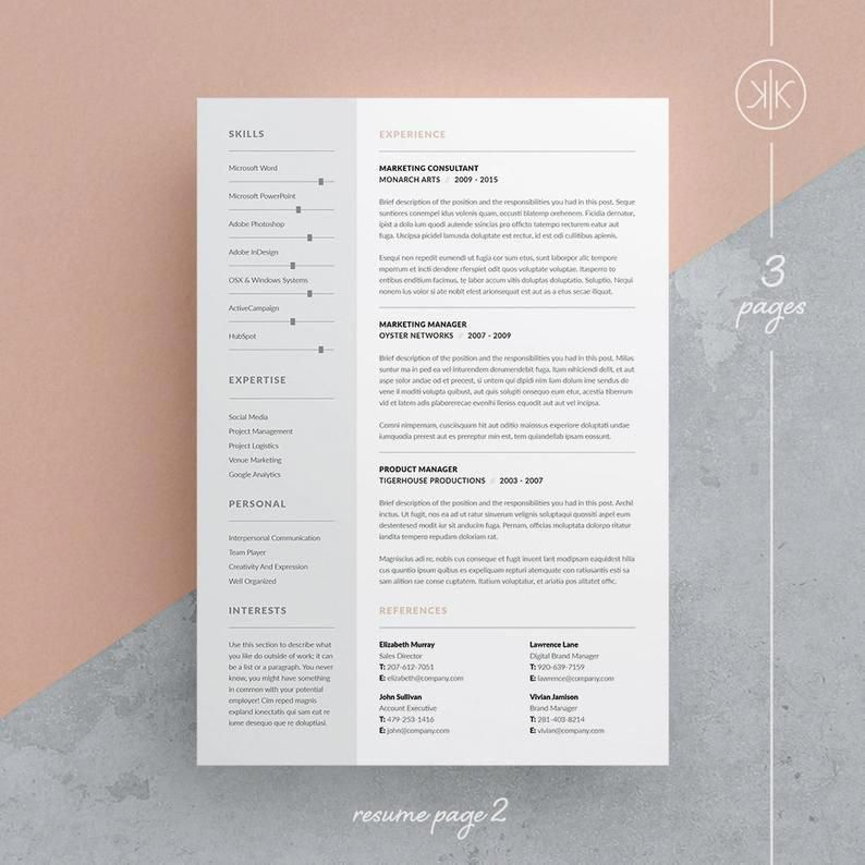 Tamara Resume/CV Template Word InDesign Etsy