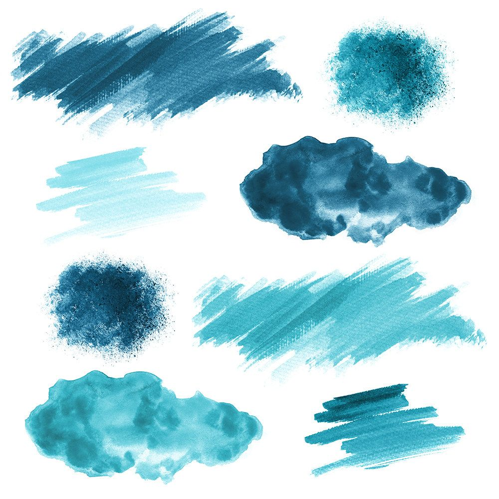 16 Blue Watercolor Splotches Splatters And Brush Strokes ม ร ปภาพ