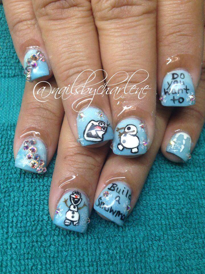 Nail art nail designs acrylic nails frozen Olaf - Nail Art Nail Designs Acrylic Nails Frozen Olaf Nails