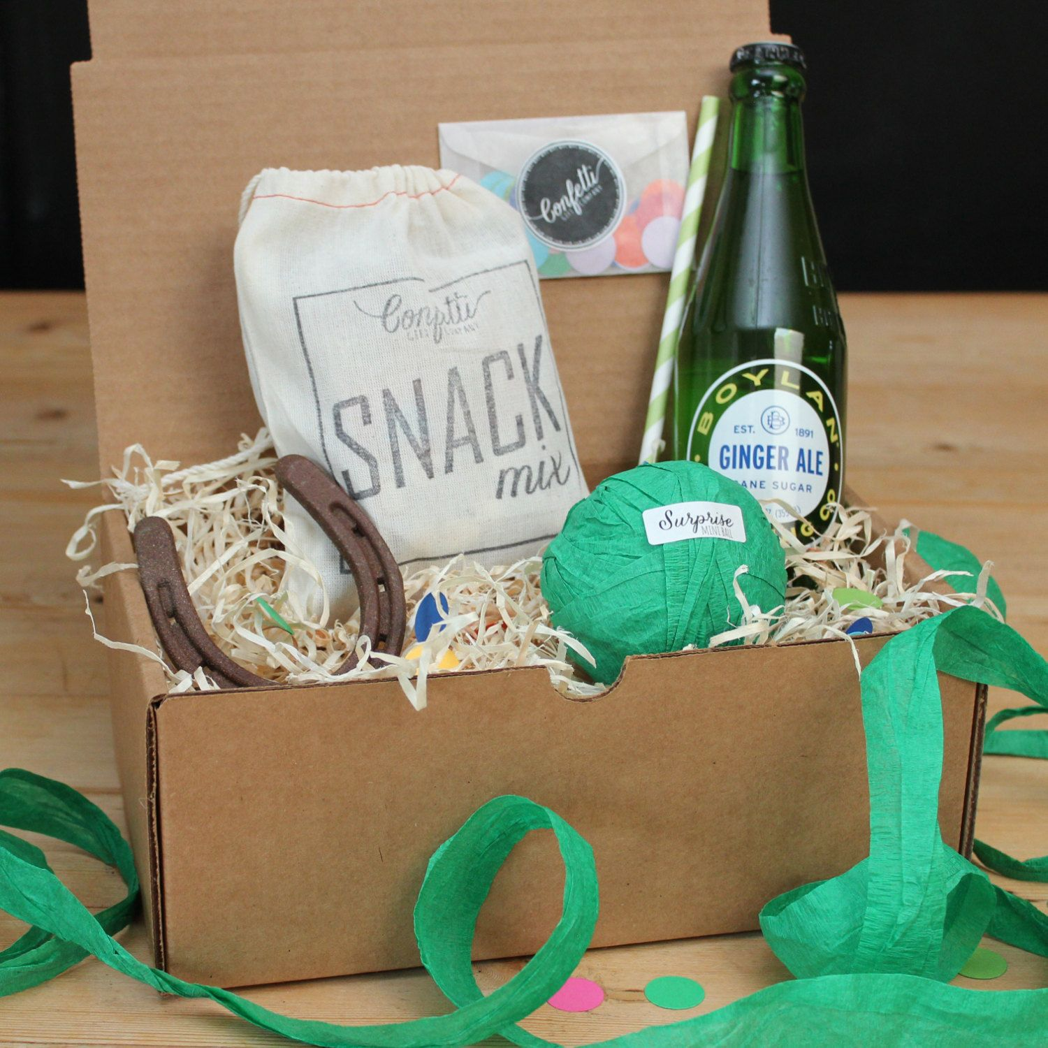 Surprise Ball Goody Box - Good Luck Box - Send A Gift // Good Luck Gift // Lucky Gift // Horseshoe Gift by ConfettiGiftCompany on Etsy