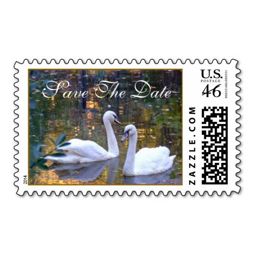 White Swans Save the Date Postage Stamps