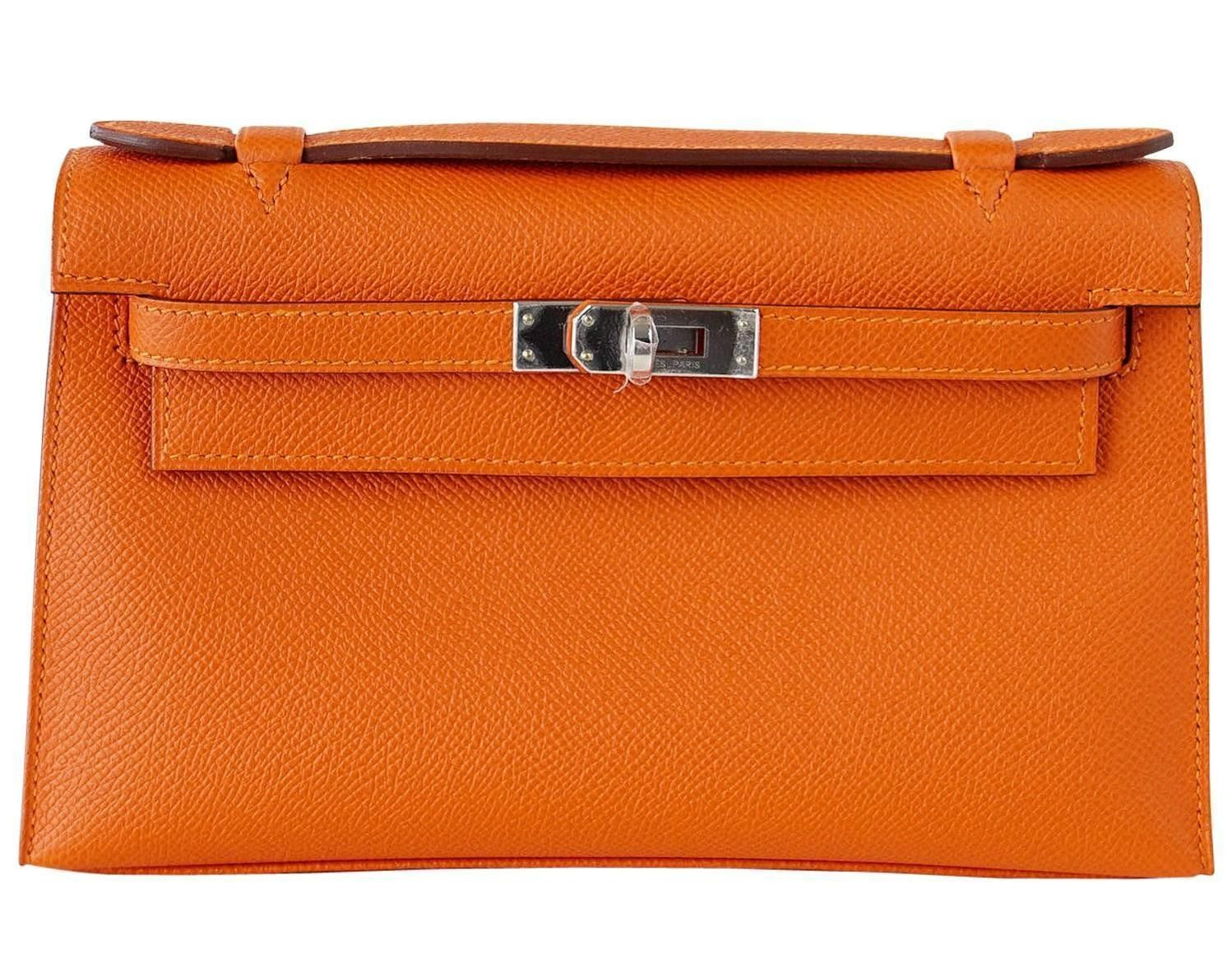 765a77ab795b Hermes Kelly Pochette Feu Orange Epsom Palladium Hardware