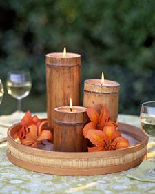Bamboo Candles How-To  1. Saw bamboo canes to varying lengths with level bottoms and 2 inches above each shelf for safety.    2. Melt wax in a double boiler; pour in enough to coat shelf surface.    3. Insert a large wick with a metal tab; let wax harden.    4. Fill almost to the top with wax.    5. Let cool for 4 hours before using, and trim wick to 1/4 inch.