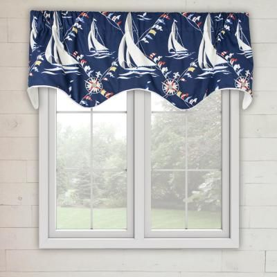 Ellis Curtain Nautical Sail 16 In L Cotton Lined Scallop Valance