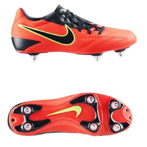 Crampons de rugby Nike T90 Shoot IV SG orange et noirs