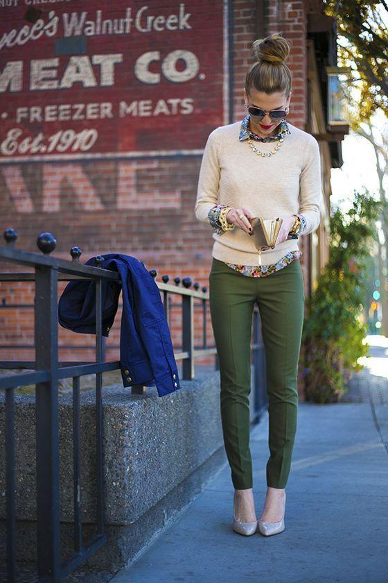 d5eb644b16 OUTFIT DEL DÍA  Look semi-formal con pantalon verde musgo