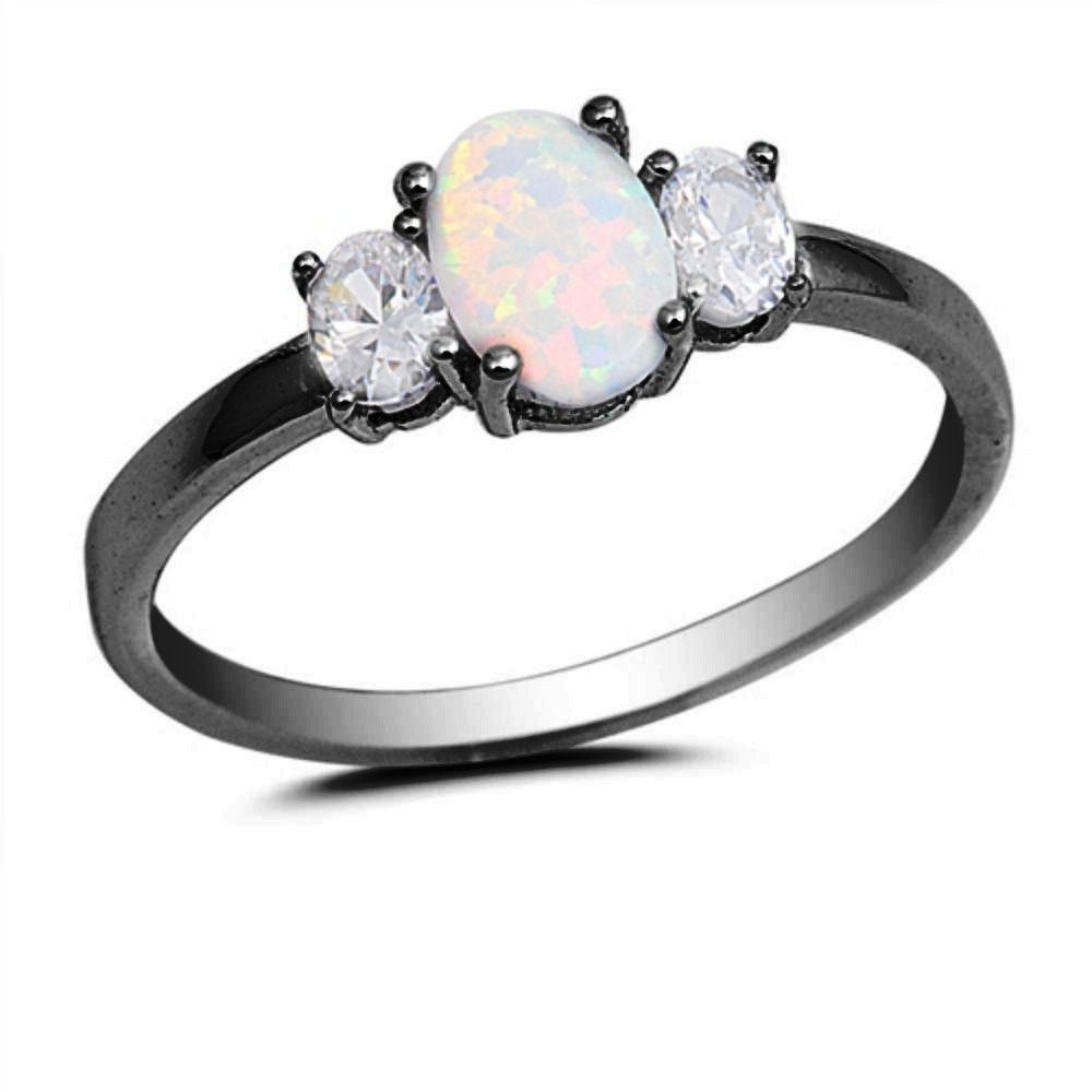 1CT Black Gold Oval Cut White Opal Ring 925 Sterling Silver Lab White Opal Oval Clear Diamond CZ Accent three stone Wedding Engagement Ring