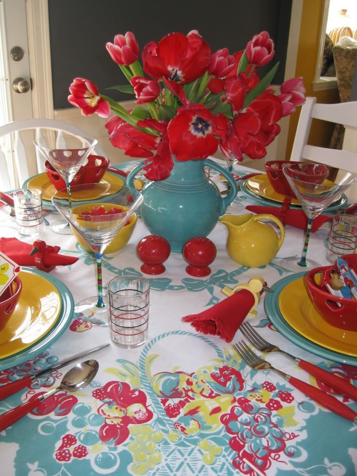 Kitchen Colors Love The Red And Turquoise