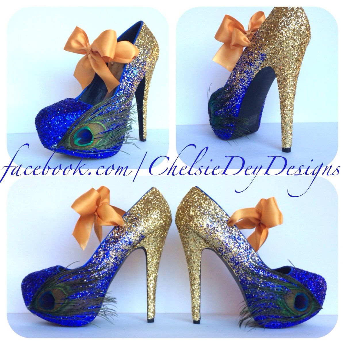 Peacock Feather Glitter High Heels