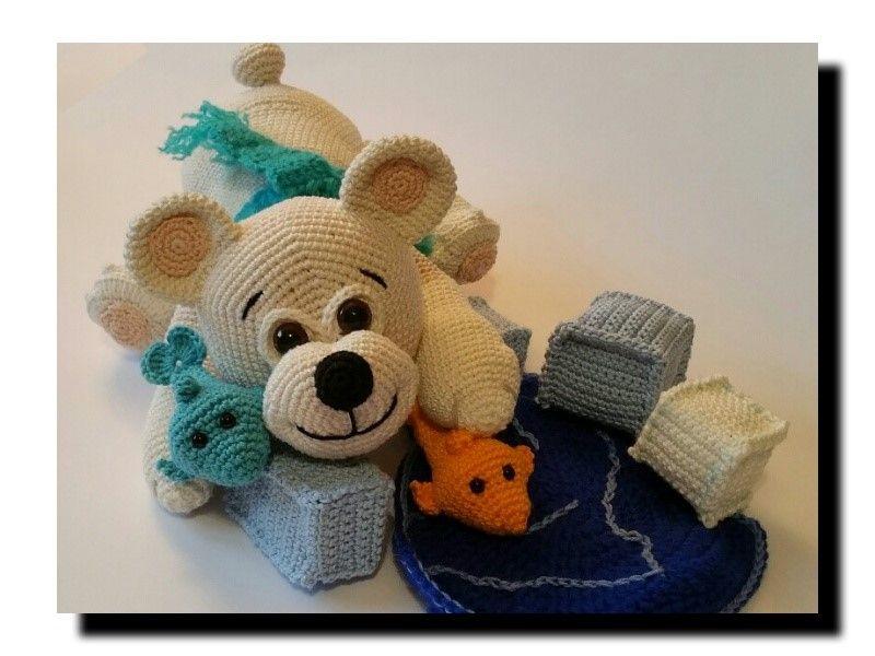 AMIGURUMI Eisbär mit seinen Fischfreunden und Wasserstelle | *Meine ...