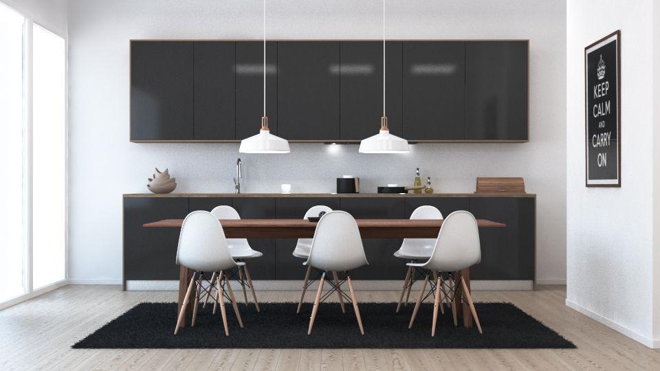 3D render interior kitchen table chair furniture whitegoods