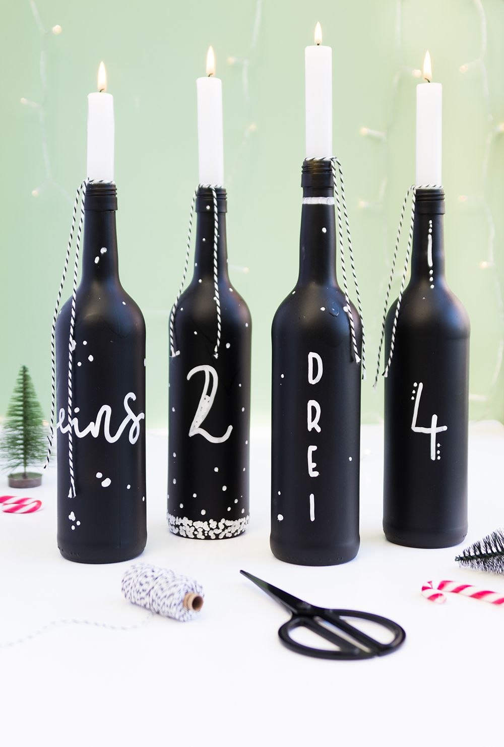 Adventskranz aus Flaschen für Weihnachten basteln
