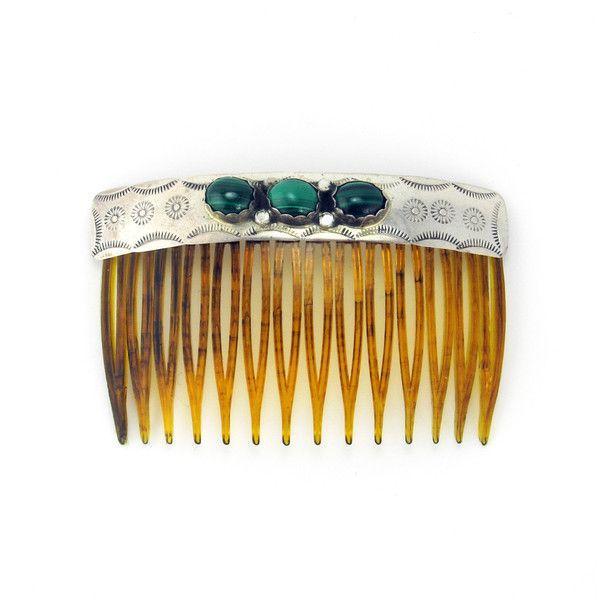 Silver + Malachite Hair Comb