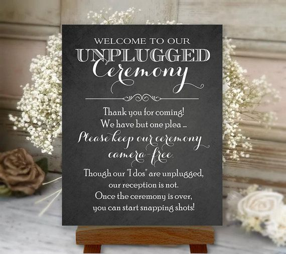 Unplugged Ceremony Printable Wedding Sign, 16x20 And 24x36