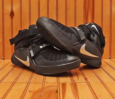 5d79959a3f4 Nike Lebron Soldier IX 9 Size 7Y - Black Metallic Silver White - 776471 001