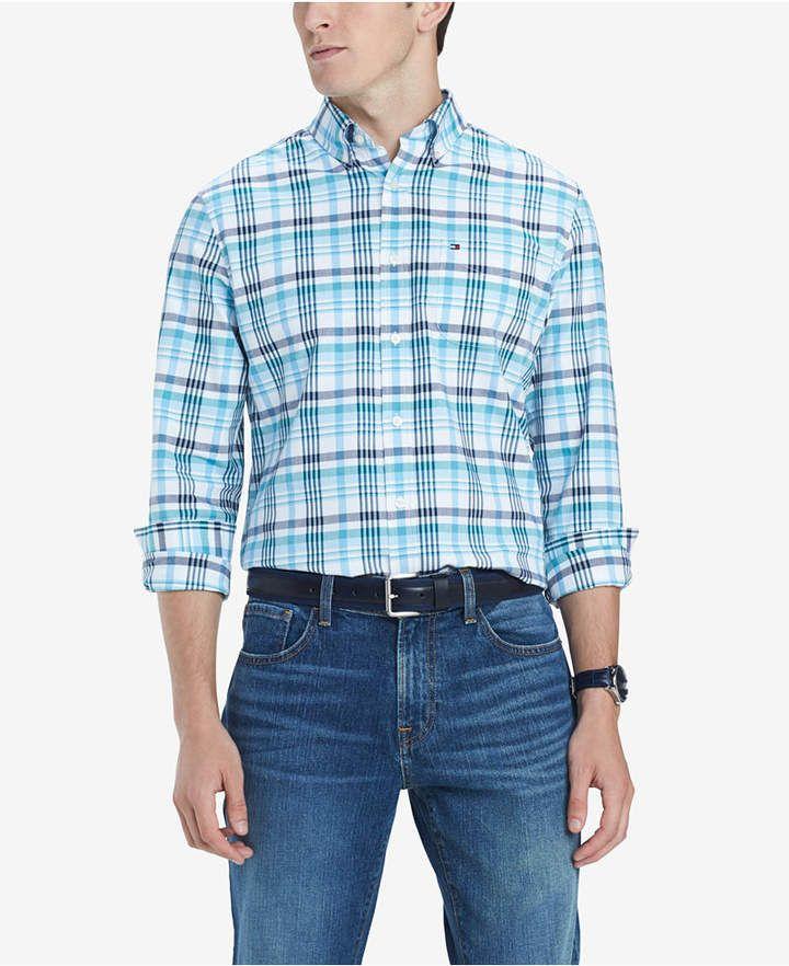 4115af3f51c Tommy Hilfiger Men s Finch Custom-Fit Stretch Plaid Twill Shirt ...