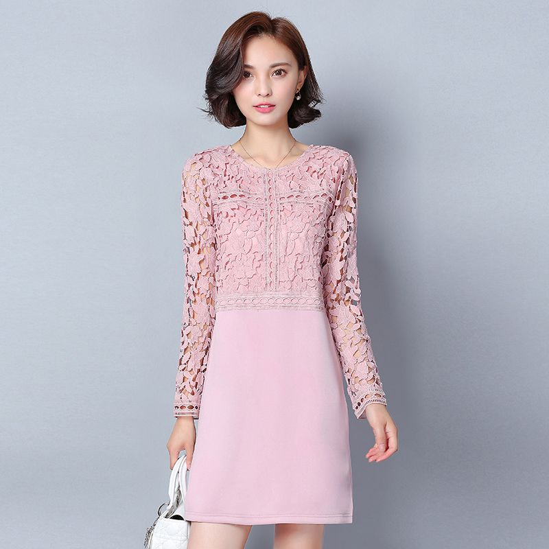 Plus Size 2017 hollow out lace dress Women spring autumn long sleeve ...
