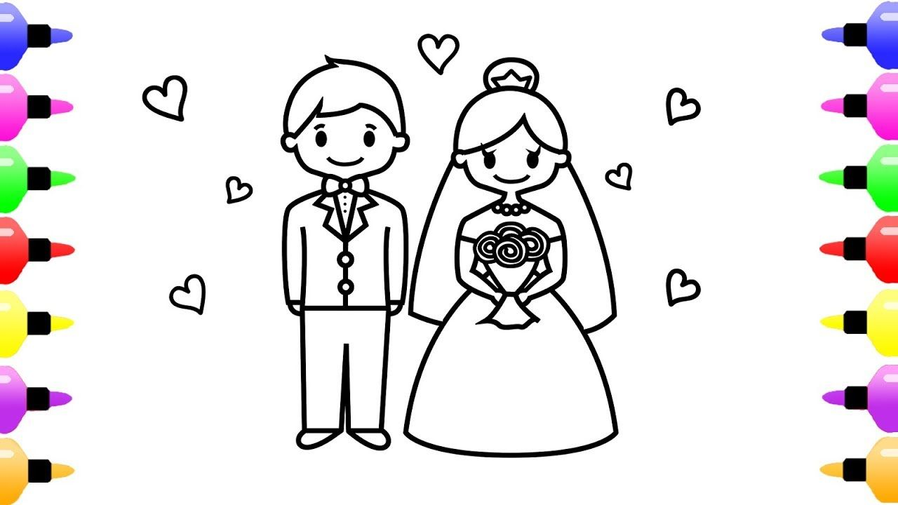 How To Draw Wedding Bride And Groom For Kids Coloring With Colored